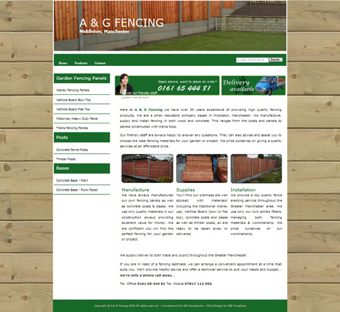 A & G Fencing Wed Site Front Page