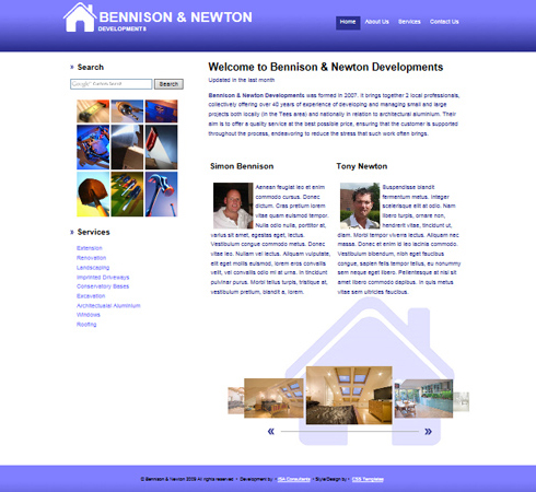 Bennison & Newton Developments Web Site Front Page