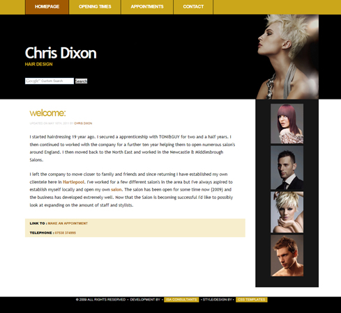 Chris Dixon Hair Design Web Site Front Page