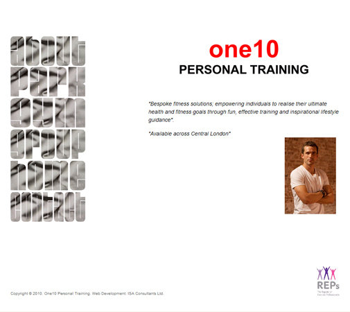 One 10 Personal Training Web Site Front Page